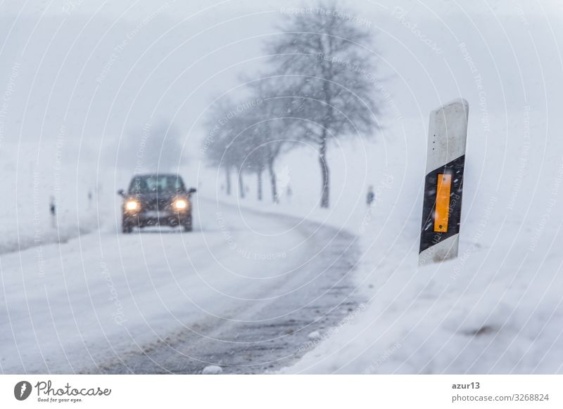 Vacation & Travel Nature White Landscape Winter Street Environment Cold Snow Copy Space Snowfall Car Transport Ice Weather Dangerous