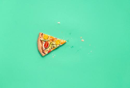 Single slice of pizza. Pizza primavera slice Last piece of pizza Dinner Finger food Italian Food Healthy Eating Delicious Tradition Mediterranean food