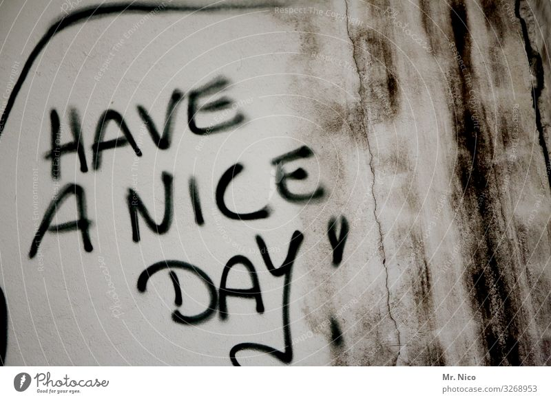 Have a nice day ! Wall (barrier) Wall (building) Facade Sign Characters Graffiti Joy Happy Contentment Desire Moody Optimism Figure of speech Dirty English