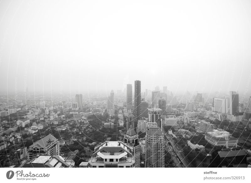 Bangkok, Condor View Cloudless sky Sunrise Sunset Thailand South East Asia Town Capital city Downtown Skyline Overpopulated House (Residential Structure)