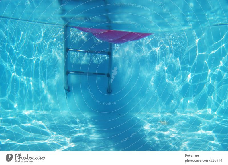 totally blue and a little pink. Elements Water Summer Cool (slang) Fresh Bright Cold Wet Blue Swimming pool Ladder Air mattress Summery Summer vacation