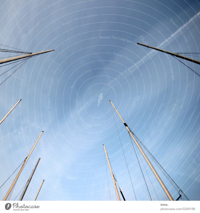 Cervical spine training (XXVIII) Sky Clouds Beautiful weather Navigation Sailboat Sailing ship Harbour On board Mast Rope Dew Rod Wood Metal Plastic Line