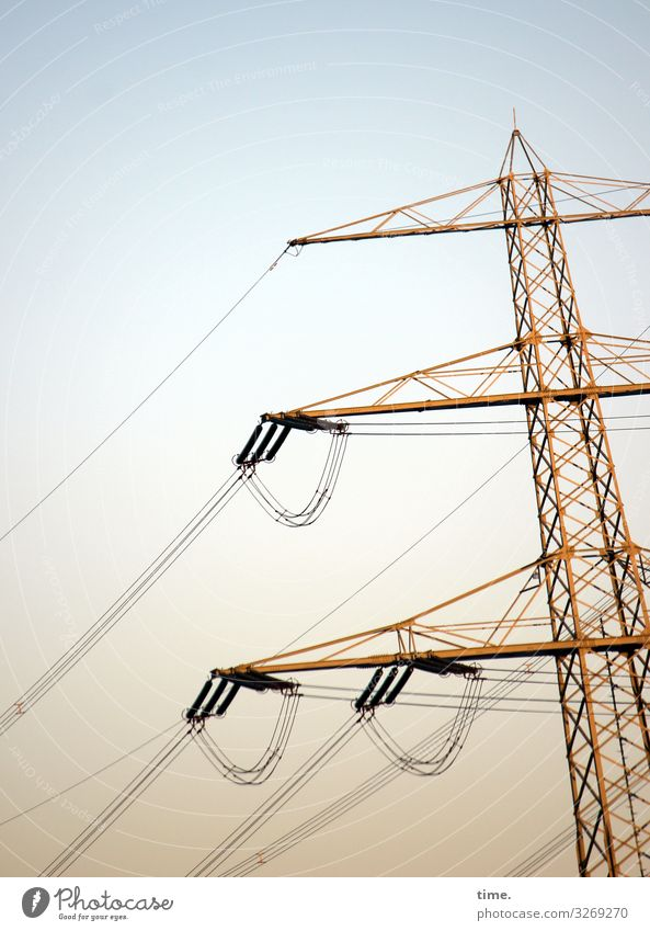 Seilschaften (IX) Technology Energy industry Electricity Electricity pylon Transmission lines High voltage power line Sky Beautiful weather Metal Disciplined