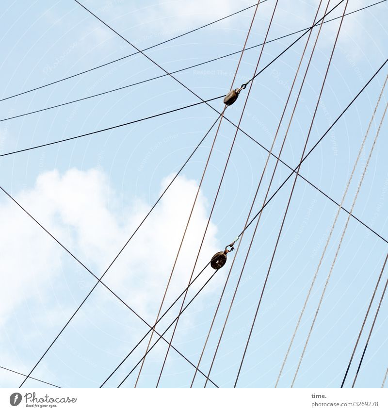 Seilschaften (III) Sky Clouds Beautiful weather Navigation Sailboat Sailing ship Rope On board Line Network Esthetic Experience Accuracy Help Inspiration