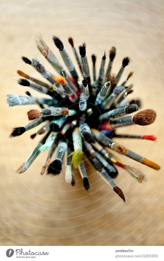 Illustration Many Painting and drawing (object) Desk Tool Crowd of people Paintbrush Painter Selection Watercolors Illustrator Illustrate