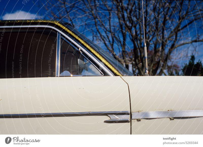 Old Car Retro Glittering Beautiful weather Gold Vehicle Vintage car Glamor