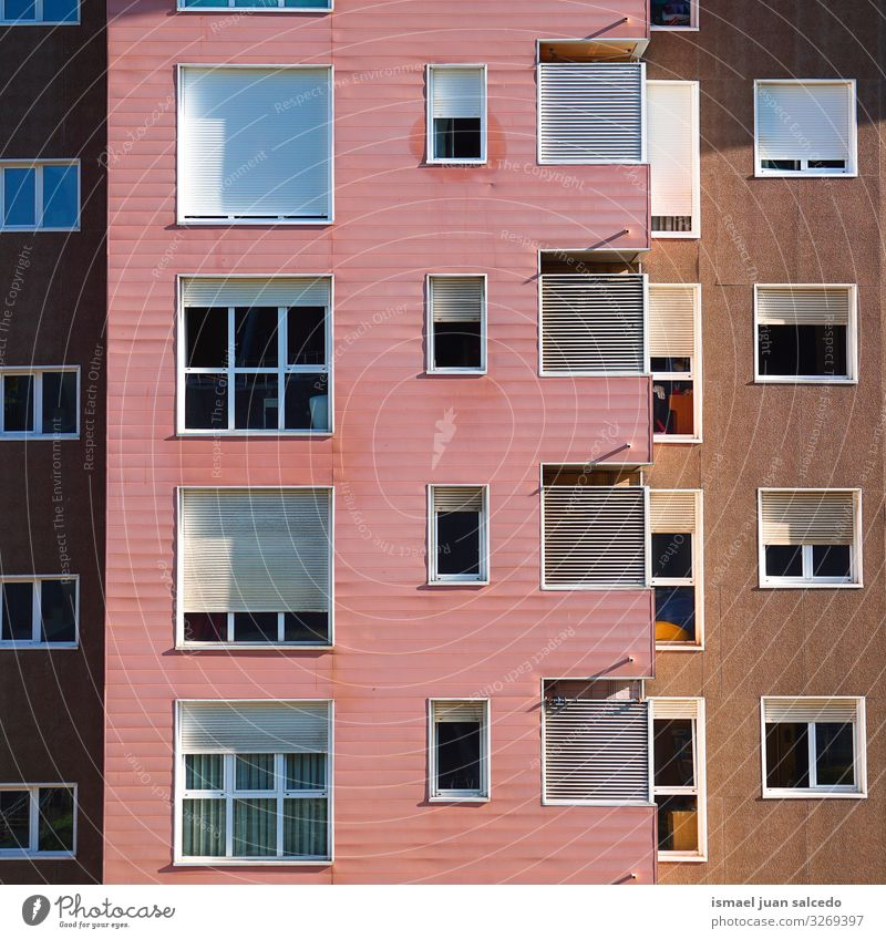 windows on the pink facade of the house in Bilbao city, spain Window Pink Facade Building Exterior shot House (Residential Structure) Home Street City Colour