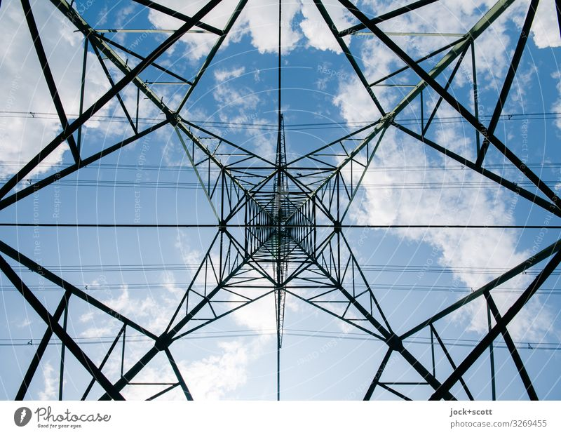 High voltage under power pole Energy industry Electricity pylon Sky Clouds Beautiful weather Line Sharp-edged Firm Tall Long Above Many Brown Moody Force