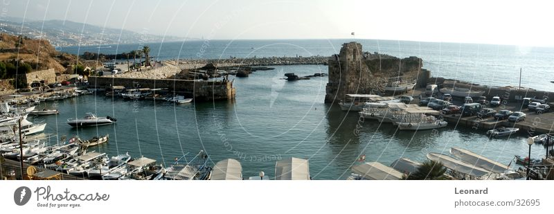 Byblos Port Watercraft Defensive Ocean Lebanon Panorama (View) Historic Harbour Castle Sun Car boat ship Large Panorama (Format)