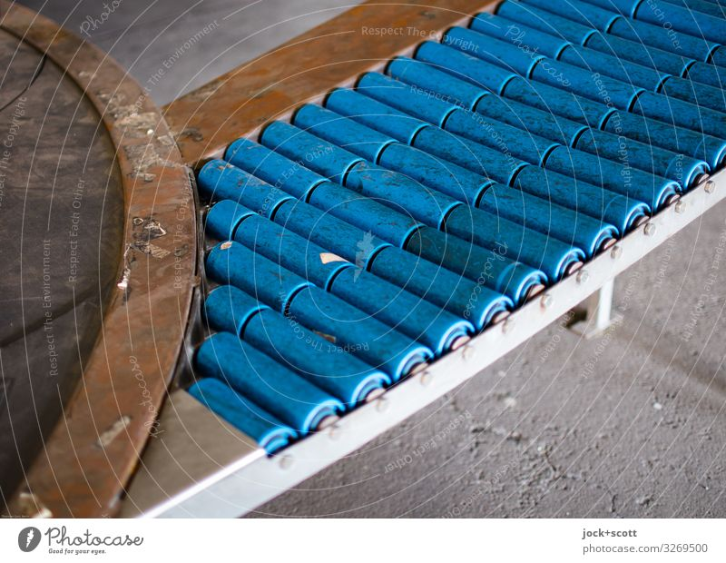 Conveyor belt out of operation Technology Authentic Dirty Retro Under Blue Symmetry Past Ravages of time Means of transport Round Direct System Detail