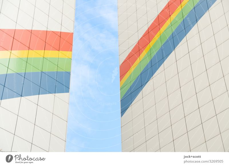 Rainbow colors facade Sky Beautiful weather Facade Fire wall Decoration Cladding Line Stripe Sharp-edged Firm Above Positive Warmth Moody Passion Agreed