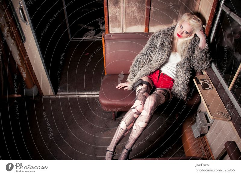 #326955 Style Adventure Night life Going out Feasts & Celebrations Woman Adults Passenger traffic Train travel Fashion Tights Dream Sadness Exceptional