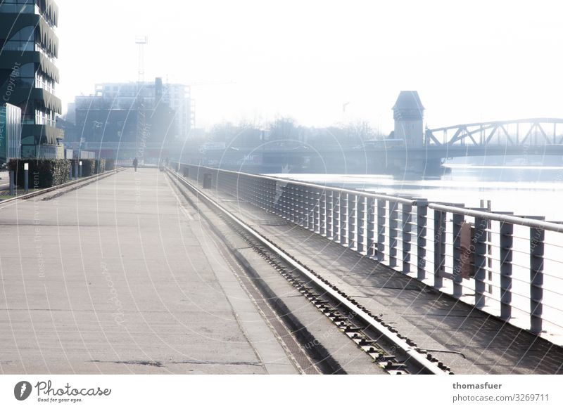 Road and railing on the banks of the Spree Human being 1 Fog River bank Berlin Town Capital city Skyline House (Residential Structure) High-rise Bridge