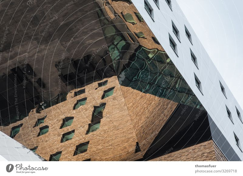 High-rise building with mirrored facade from frog's eye view Living or residing Berlin Germany Capital city Downtown House (Residential Structure)