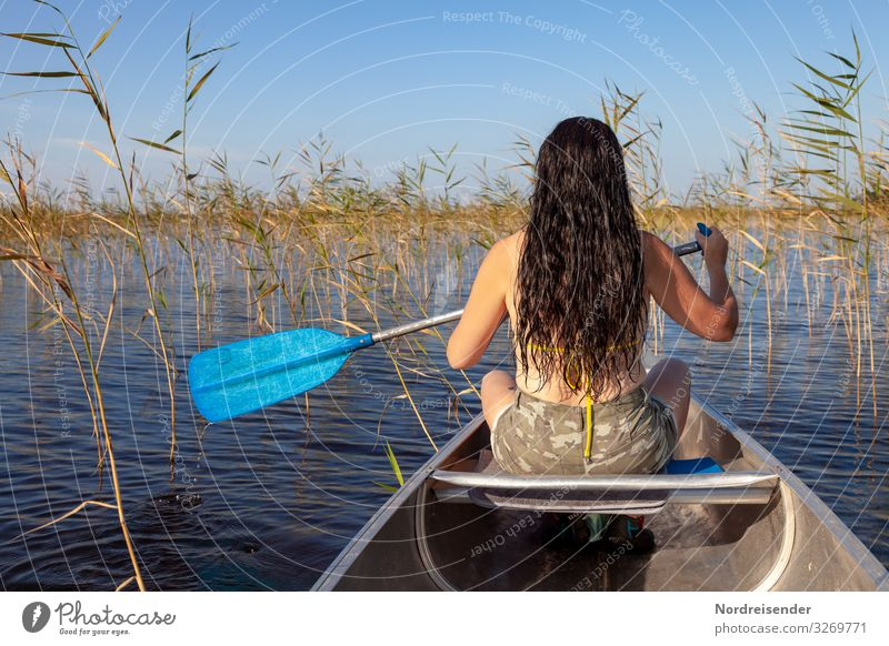 Through the summer by canoe Hair and hairstyles Life Leisure and hobbies Vacation & Travel Adventure Freedom Camping Summer vacation Human being Feminine Woman