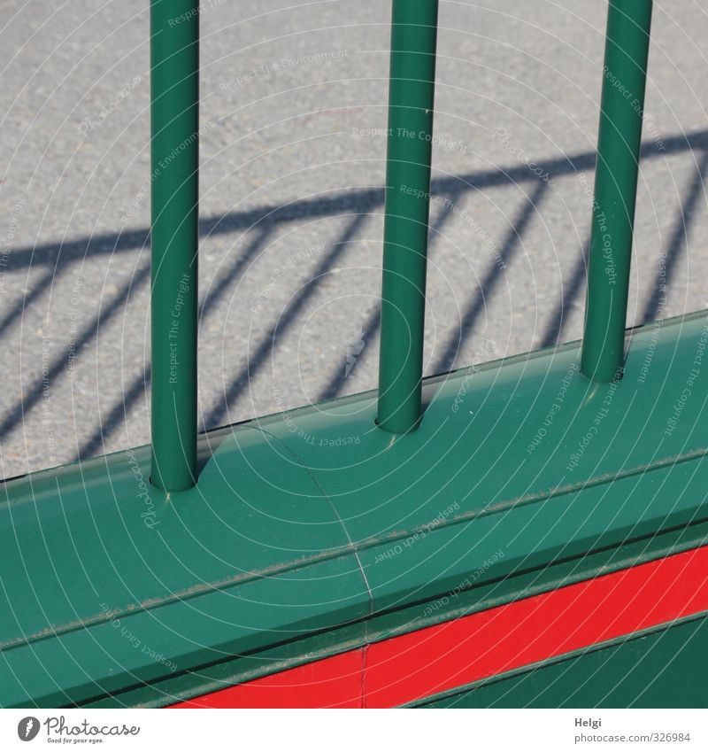 Green Red Gray Metal Fear Authentic Stand Arrangement Dangerous Threat Safety Uniqueness Protection Fence Long Luxury