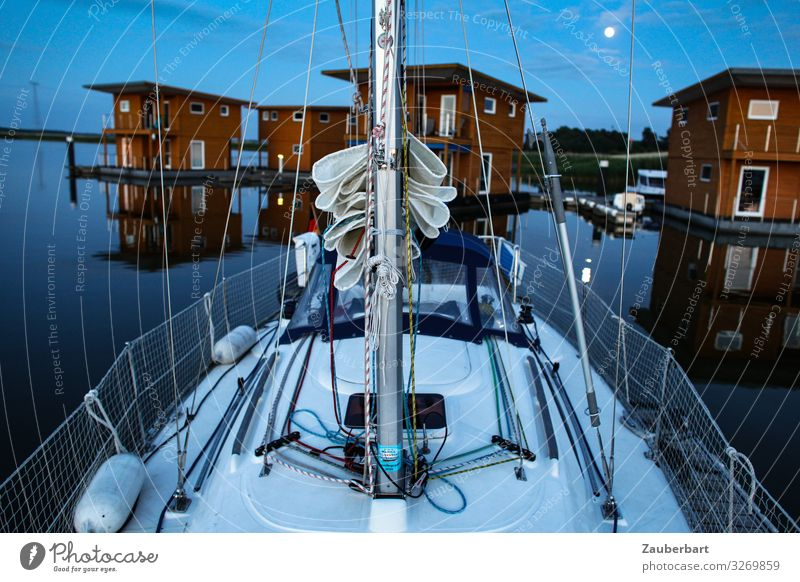 Peaceful evening Sailing Vacation & Travel Sailing trip Water Moon Baltic Sea Harbour Vacation home Sailboat Yacht harbour Lie Blue Red Safety (feeling of) Calm