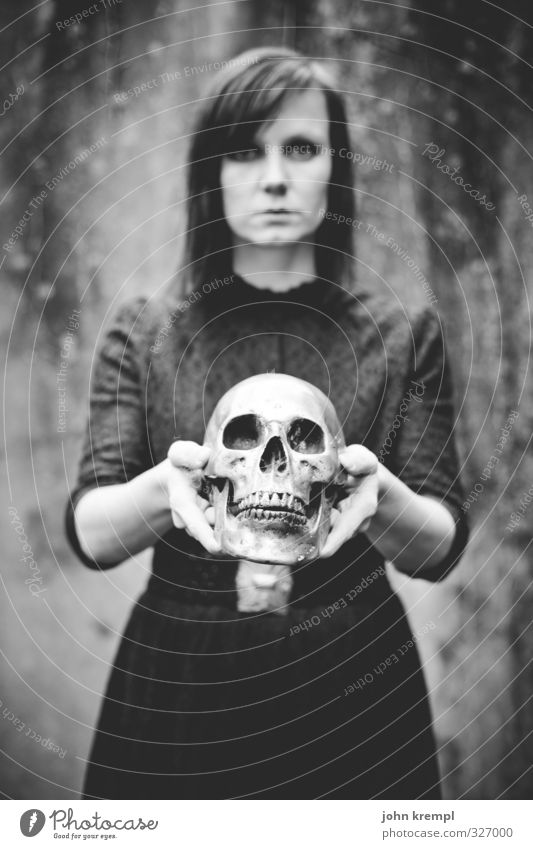 Bizarre Angel of Death. Feminine Young woman Youth (Young adults) 18 - 30 years Adults Looking Stand Threat Dark Historic Crazy Sadness Grief Longing Loneliness