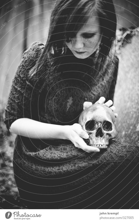 Come on, sweet death. Feminine Young woman Youth (Young adults) 1 Human being 18 - 30 years Adults Cemetery Death's head Crouch Dark Creepy Together Loyalty