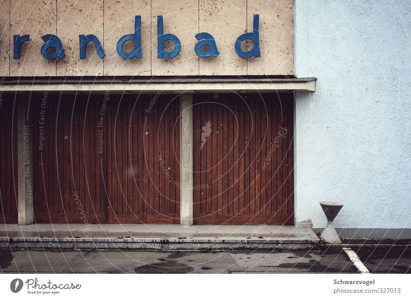 The Randbad Fitness Wellness Swimming pool Swimming & Bathing Winter Snow Sporting Complex Facade Sports Cold Retro Blue Brown Gray Moody Loneliness Nostalgia