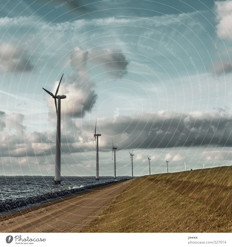 wind machines Renewable energy Wind energy plant Environment Landscape Air Water Sky Clouds Horizon Beautiful weather Meadow Hill Waves Coast Blue Brown Gray