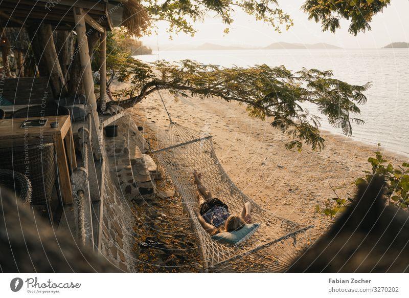 Hängematte am einem Traumstrand in Indonesien Asien Backpagging Lombok Ozeanien Secret Gilis Sonnenuntergang Strand Trockenzeit Indonesia Landscape Beach