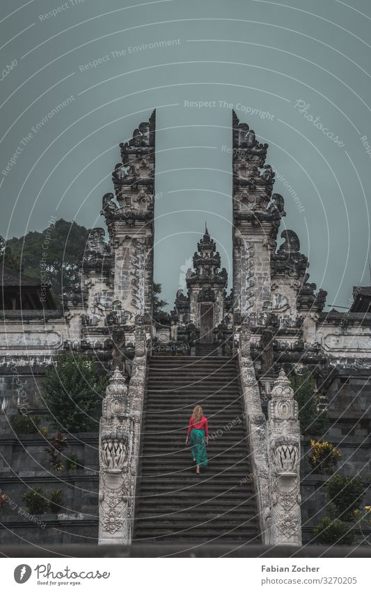 Lempuyang Temple on Bali in Indonesia Architecture Culture Stairs Tourist Attraction Going Walking Esthetic Gray Red Respect Vacation & Travel