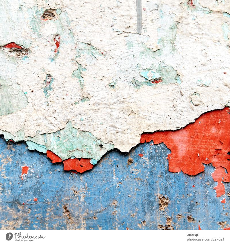 change Design Wall (barrier) Wall (building) Facade Old Broken Blue Red White Decline Past Transience Change Rendered facade Plaster Background picture