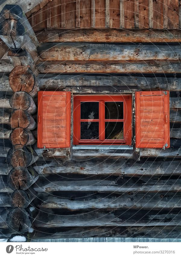wooden house House (Residential Structure) Living or residing Window Red Wood Wooden house Hut Tree house Tree trunk Old Ecological Alpine pasture Alpine hut