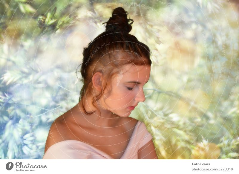 Girl from the side, looking down with nature background Elegant Style Beautiful Wellness Well-being Contentment Senses Relaxation Meditation Feminine