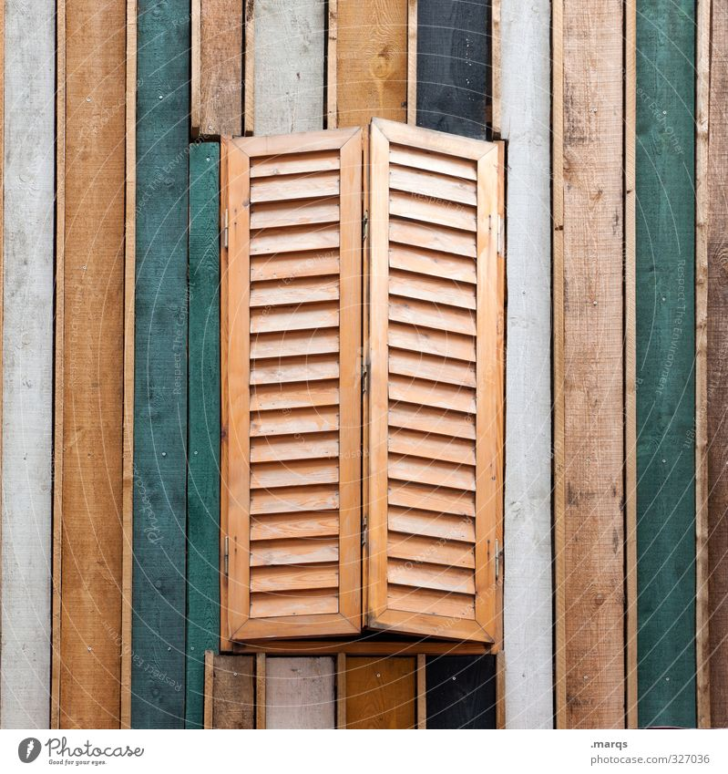 To Style Living or residing Flat (apartment) Detached house Wall (barrier) Wall (building) Window Wood Line Stripe Uniqueness Brown Green White Shutter Closed