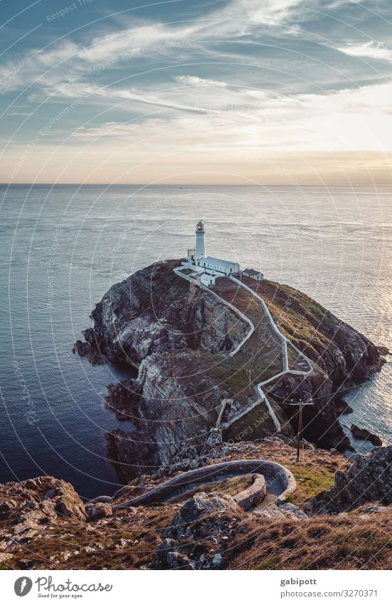 South Stack Lighthouse Panorama (View) Vacation & Travel Trip Tourism Far-off places Illuminate Ocean Navigation Island Summer Beach Freedom Infinity Horizon