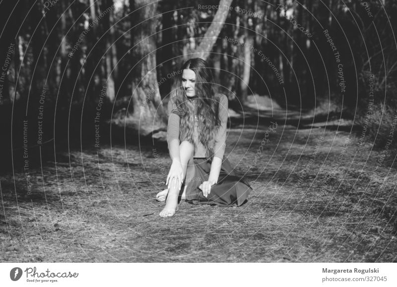 forest path Masculine Woman Adults 1 Human being 18 - 30 years Youth (Young adults) Weather Forest Sit Dream Black & white photo Morning Day Light Shadow