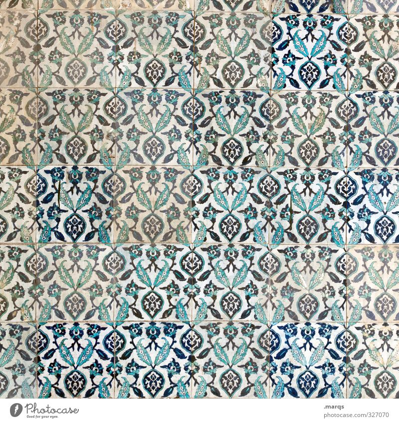 Blue White Wall (building) Wall (barrier) Style Background picture Art Dirty Design Decoration Simple Culture Tile Turkey Ornament Near and Middle East