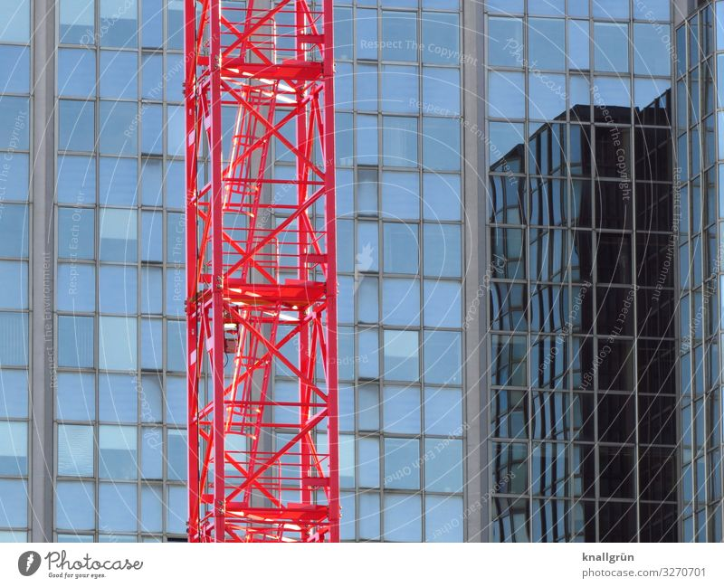 construction site House (Residential Structure) High-rise Facade Window Work and employment Glittering Tall Town Blue Red Growth Living or residing