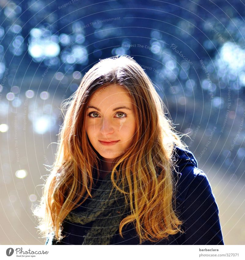 Total blue   out of the blue Feminine Young woman Youth (Young adults) Woman Adults 1 Human being Water Sunlight Autumn Pond Lake Coat Scarf Blonde Long-haired