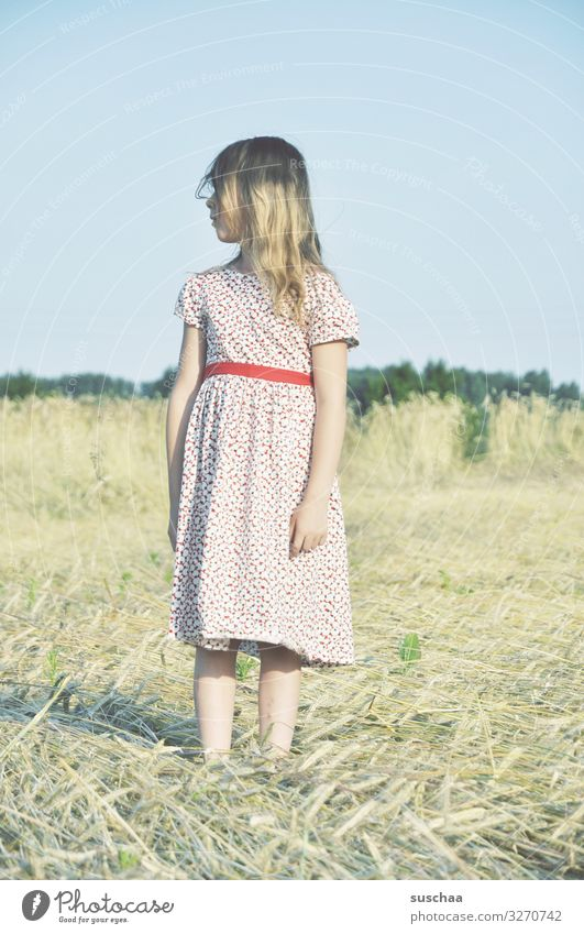 summer day (4) Child Girl Feminine Freedom Playing Joy Good mood Summery Dress Hair and hairstyles Sky Straw Field Infancy Happiness Light heartedness Retro