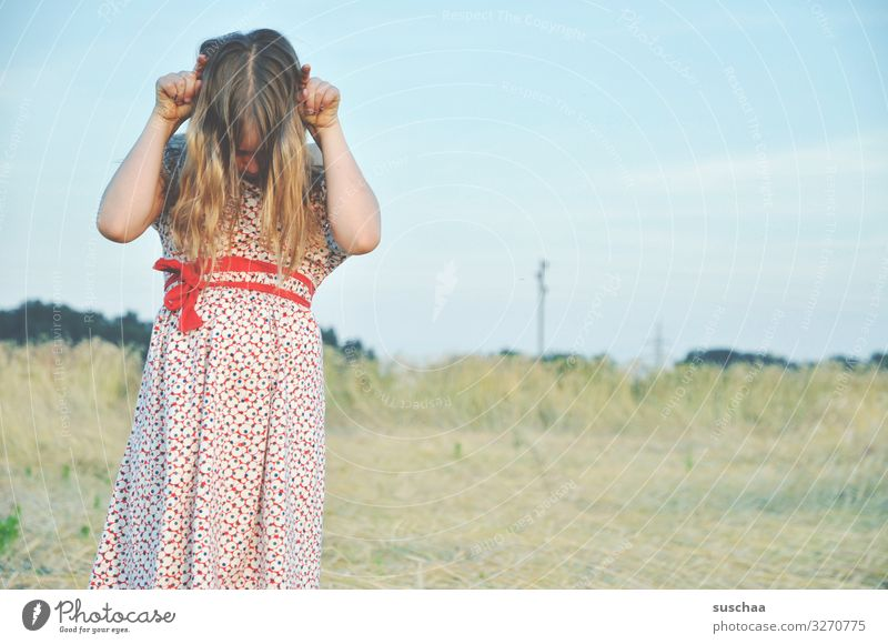 muhhhhh Child Girl Feminine Freedom Playing Joy Good mood Summery Dress Hair and hairstyles Sky Straw Field Infancy Happiness Light heartedness Retro