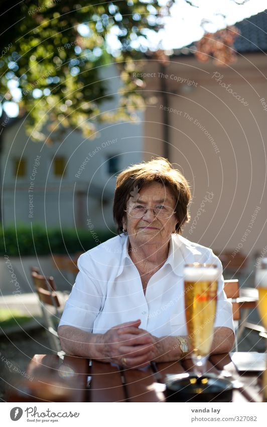 prost Food Beer garden Munich Bavaria Beverage Restaurant Going out Eating Drinking Female senior Woman Grandmother 60 years and older Senior citizen