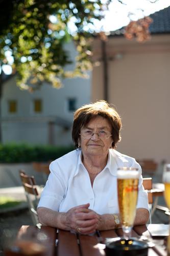 prost Food Beer garden Munich Bavaria Beverage Restaurant Going out Eating Drinking Female senior Woman Grandmother 60 years and older Senior citizen