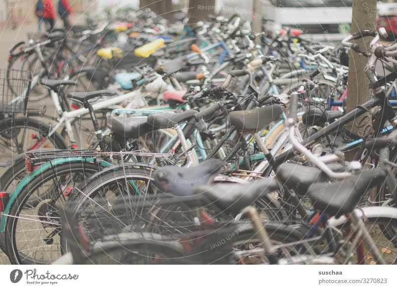 bicycle chaos Bicycle Cycling bicycles Chaos Many Muddled Parking Forget Town City life Bicycle city Karlsruhe Station area Movement bicycle lock Transport