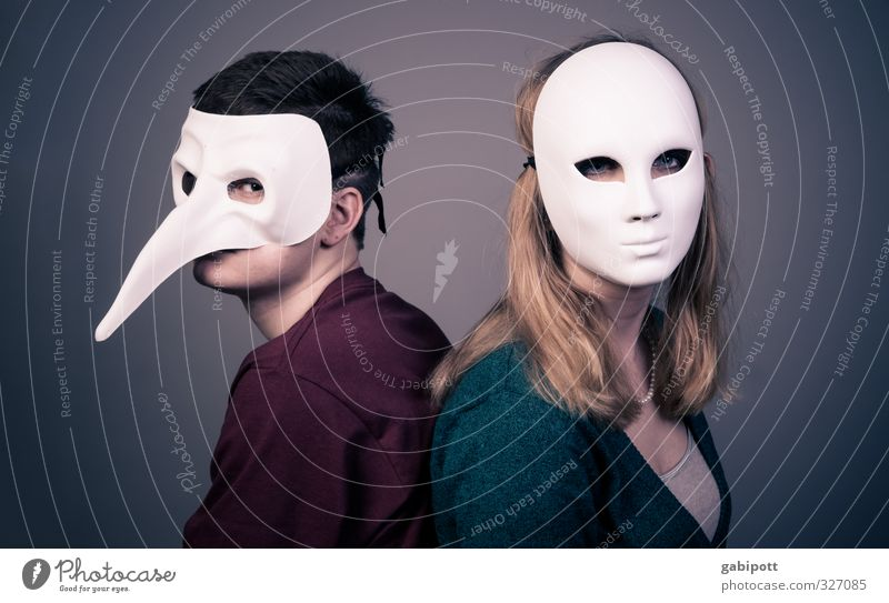 Human being Youth (Young adults) Loneliness Young woman Young man Adults 18 - 30 years Cold Life Sadness Couple Communicate Mask Hide Relationship Argument