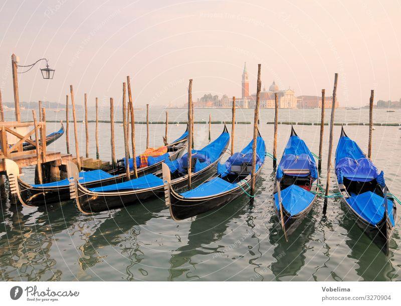 Gondolas and Church of San Giogio Maggiore in Venice San Giorgio Maggiore gondola Island giorgio maggiore Italy Venezia Mediterranean sea Ocean Lagoon boat
