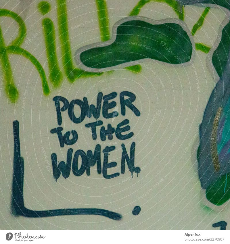 Power To The Women | UT Sign Characters Graffiti Multicoloured Self-confident Optimism Success Willpower Brave Determination Acceptance Agreed Honest Tolerant