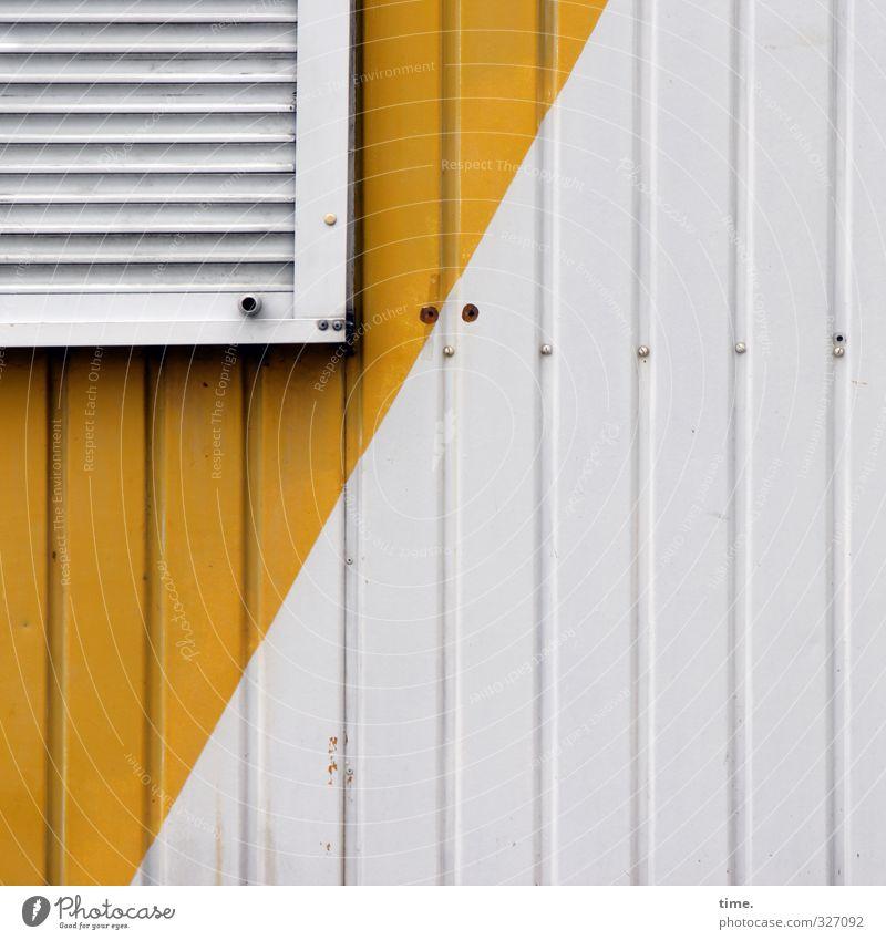 Corner Flank Off Hut Wall (barrier) Wall (building) Facade Window Roller shutter Venetian blinds Metal Plastic Sharp-edged Trashy Town Yellow White Design