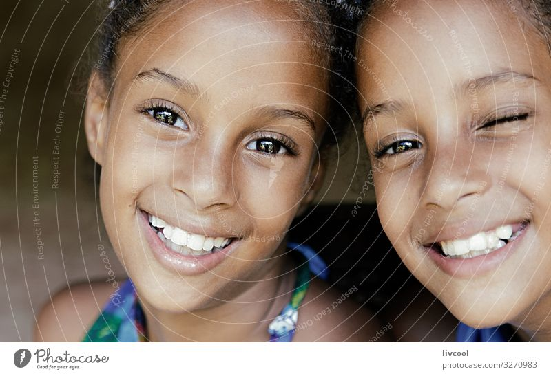 beautiful twin sisters, cuba Lifestyle Style Beautiful Playing Vacation & Travel Trip Island Child Human being Feminine Girl Sister Infancy Head Face Eyes Ear