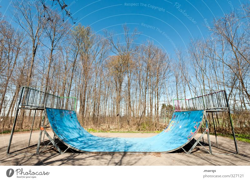 pipe Lifestyle Style Leisure and hobbies Sports Skateboarding Inline skating Halfpipe Sporting Complex Cloudless sky Spring Autumn Tree Cool (slang) Bright