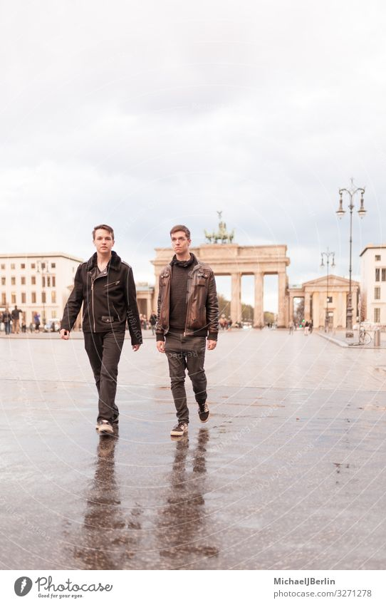 Two teenage men in front of the Brandenburg Gate in Berlin Human being Masculine Young man Youth (Young adults) 2 Tourist Attraction Landmark Walking Germany
