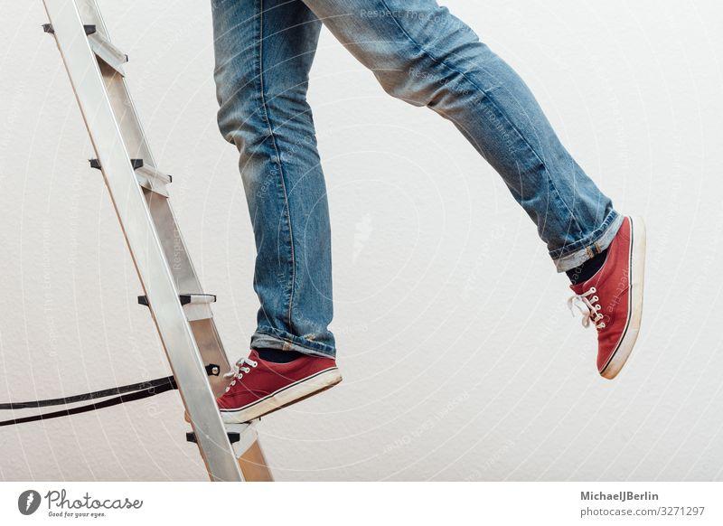 Man climbing ladder Human being Masculine 1 Wall (barrier) Wall (building) Dangerous Ladder Ascending Climbing Accident Household Work and employment