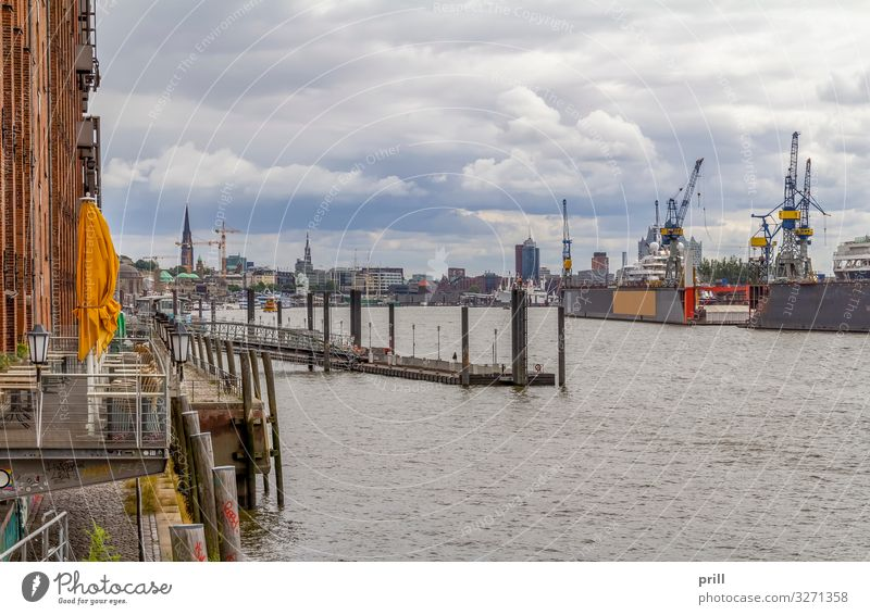 around Port of Hamburg Water Coast Brook River Town Port City Harbour Manmade structures Building Architecture Transport Logistics seaport Elbe voyage Germany